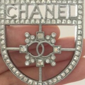 Chanel Silver Authentic Shield Brooch